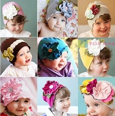 03d2df958b4 The New Baby Hat Baby Girls Hat Big Flowers Sets the Spring And ...