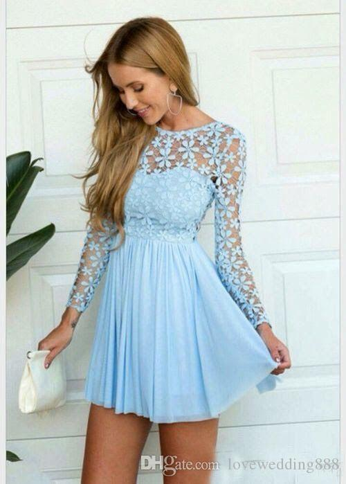 2017 Light Sky Blue Long Sleeves Cocktail Dresses Applique Lace ...