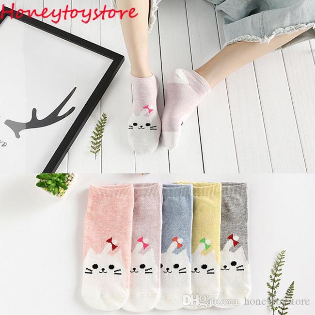 50 Paare Frauen Cotton Cute Funny Sock Katze Cartoon Tier Muster Casual kurze Söckchen für Frauen und Mädchen Großhandel