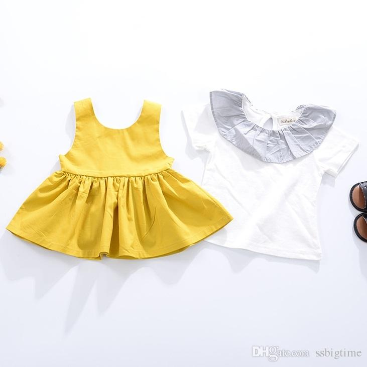 a65e76cbb85 Acheter 2017 Filles Bébé Robes D été Sans Manches Princesse Robe Pour Filles  Coton Jaune Enfant Vêtements Vêtements Plissés Robes Infantile Vêtements 0  3 T ...