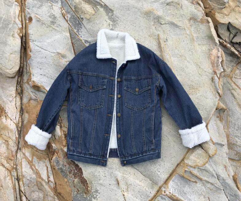2018 새로운 가을, 겨울 재킷 여성 의류 복고풍 양들 옷깃 데님 코트 느슨한 두꺼운 벨벳 - 긴팔 패션 캐주얼 코트 자켓