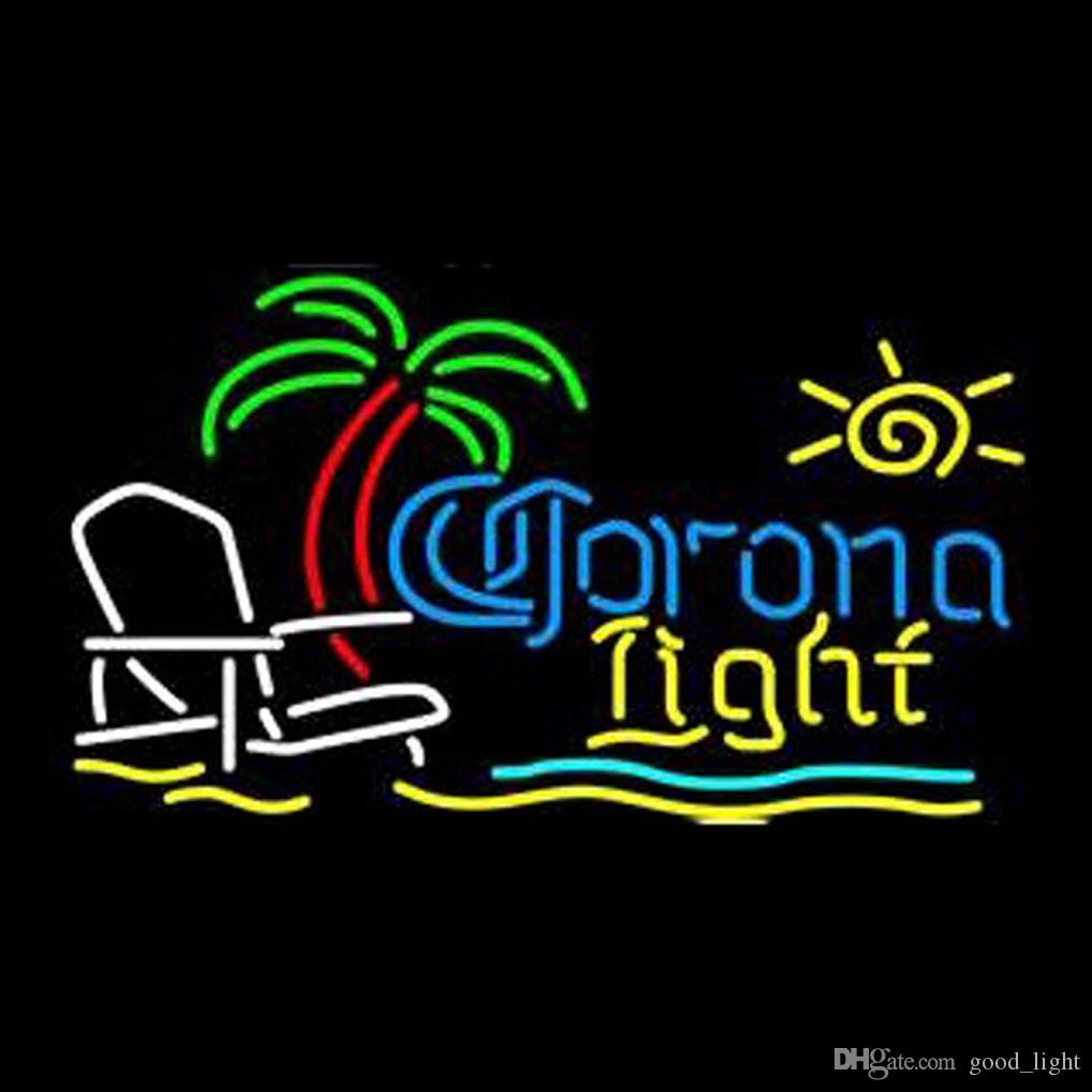 "Corona Light Palm Tree Beach Chair Neon Light Sign Beer Bar Pub Club 17""x14"""