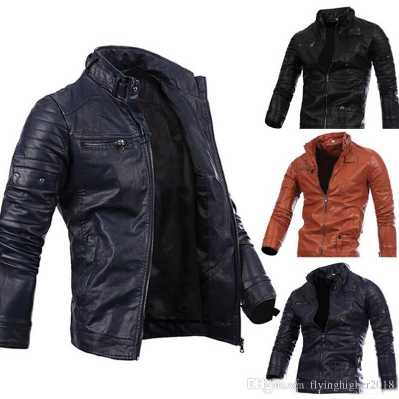 Männer Motorrad Schwarz Männlichen Leder Jacken Taste Reißverschluss Biker Pilot Schaffell Mantel Heißer Verkauf M-2XL hohe qualität