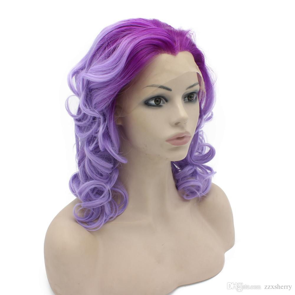 Medium Long Wavy Two Tone Purple Lace Front Synthetic Ombre Wig