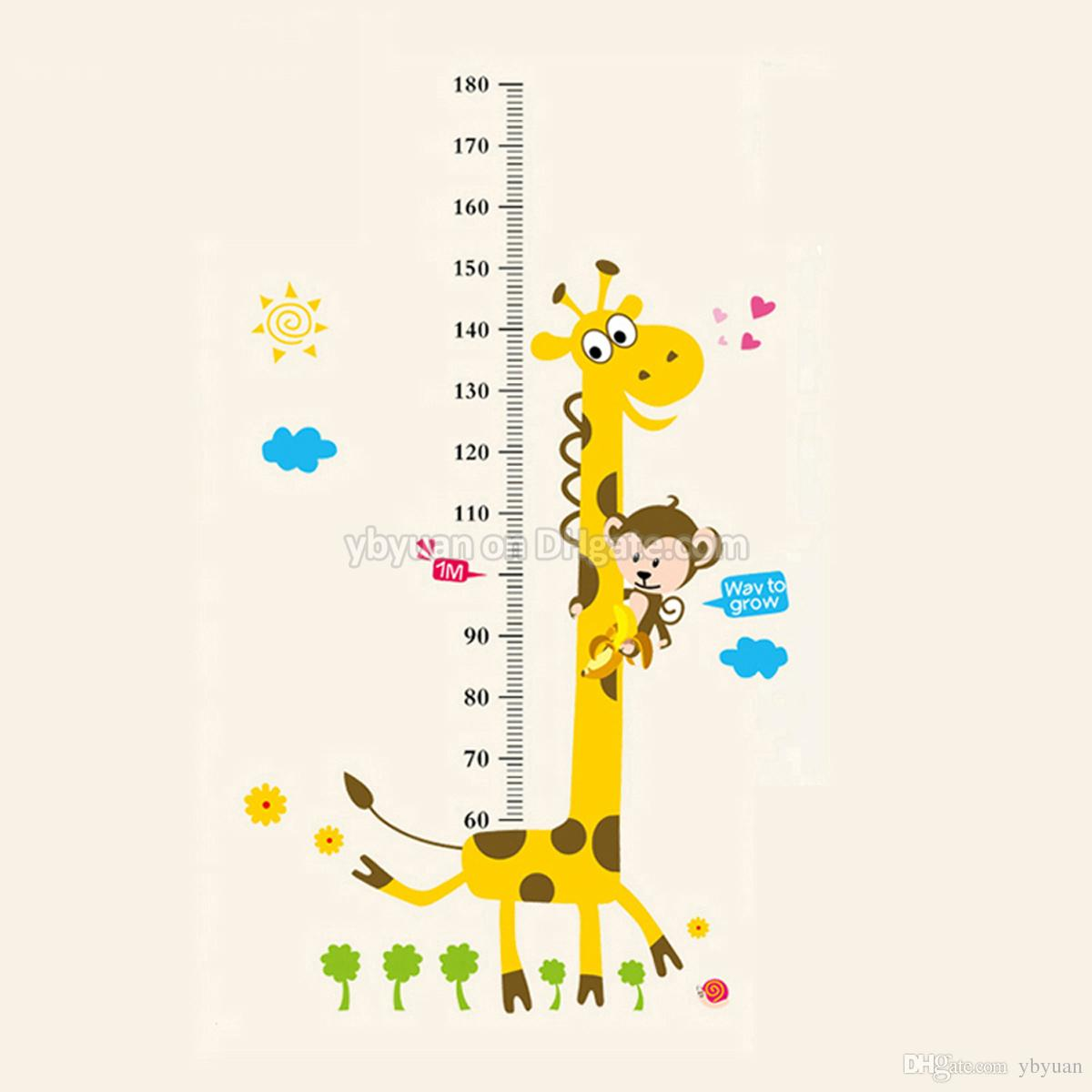 Removable Pvc Children Wall Stickers Large Cartoon Giraffe Height