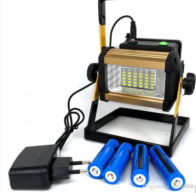 2017 새로운 LED 홍수 빛 50W 반사체는 스포트 라이트 방수 옥외 램프 영사기 + 4x18650 배터리 충전기를지도했다
