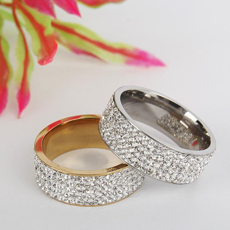 5 Rows 316L Stainless Steel Diamond Crystal Ring cluster gold Couple wedding Rings for Women Men fashion Jewelry will and sandy
