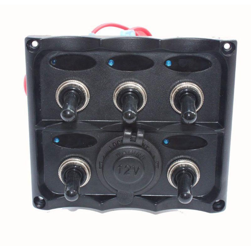 Elétrica Azul Elétrica LED Interruptor de Painel de 5 Gangue com Painel de Tomada de Energia 12 V