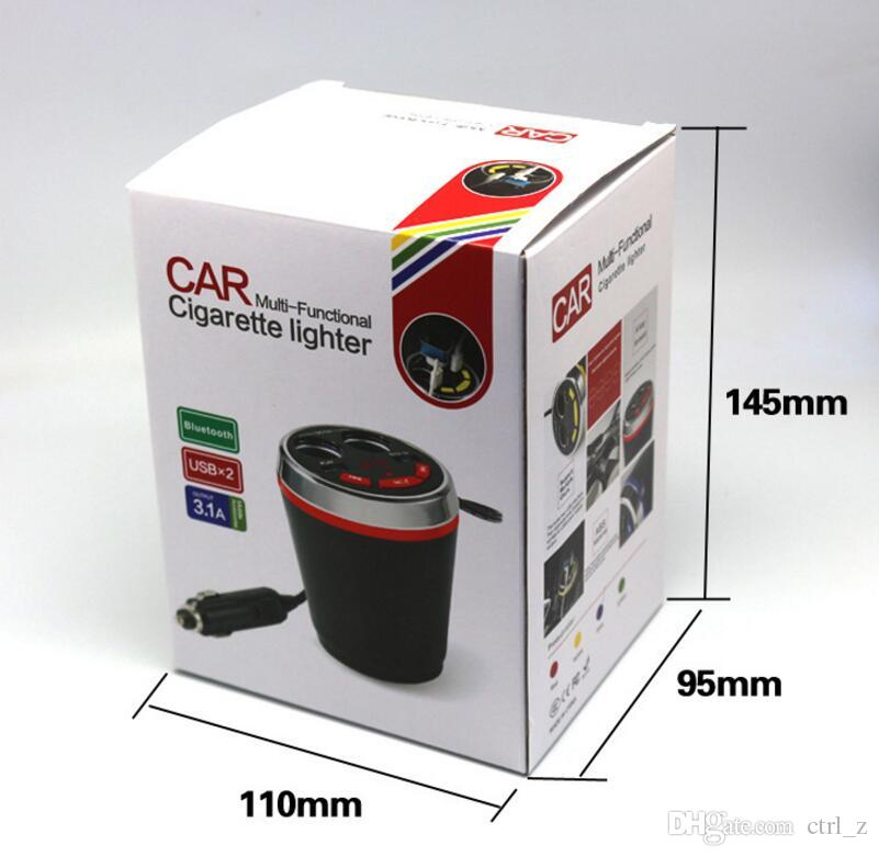 Portable CUP Car Charger Bluetooth Car Kit de manos libres del encendedor de cigarrillos adaptador Splitter con 2 puertos USB