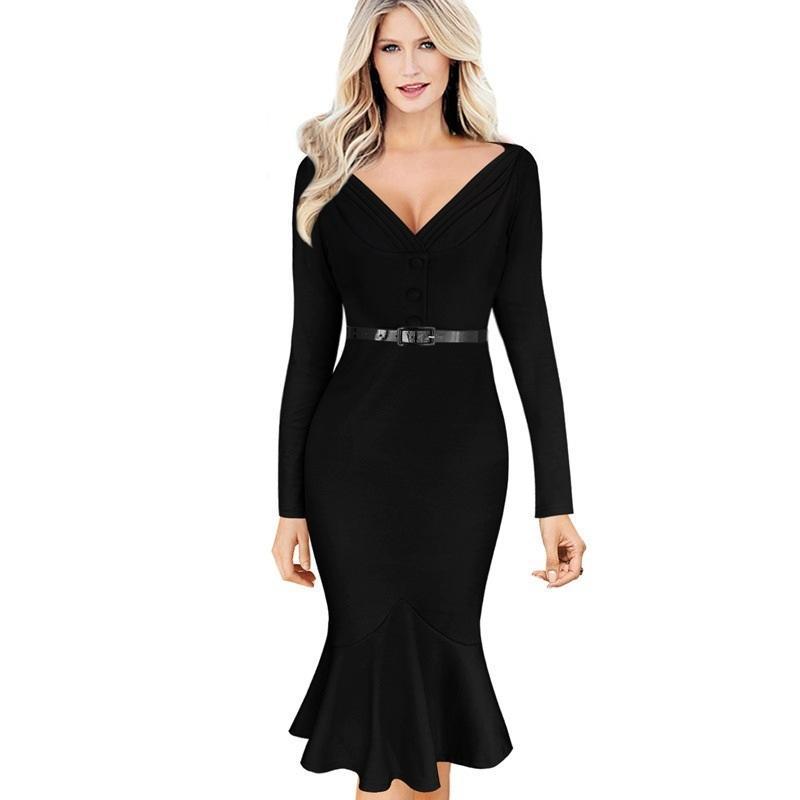 a6fb71a54b31 Satın Al 2017 Yeni Moda İş Kıyafetleri Kadınlar Elbise Avrupa Zarif Mermaid  Elbise Seksi V Yaka Ofis Elbiseler Marka Elbiseler Ücretsiz Kemer DR110