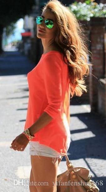 2017 Europe fashion sexy waist sleeve chiffon back open fork blouses plus size spring summer autumn women black orange split t shirts tops
