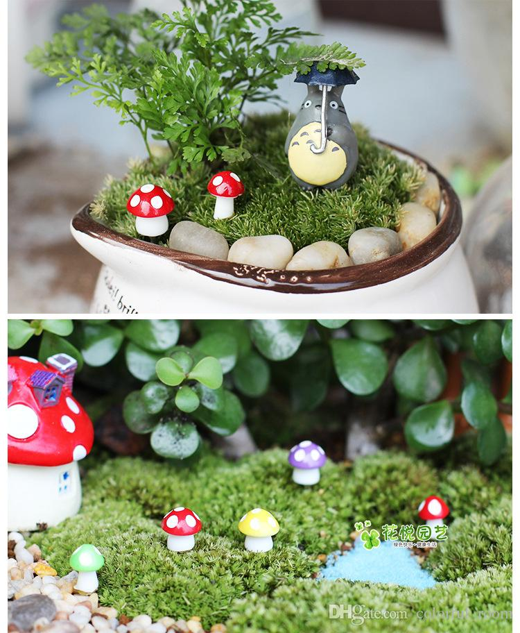 artificial mini colorful Mushroom fairy garden miniatures gnome moss terrarium decor resin crafts bonsai home decor for DIY Zakka
