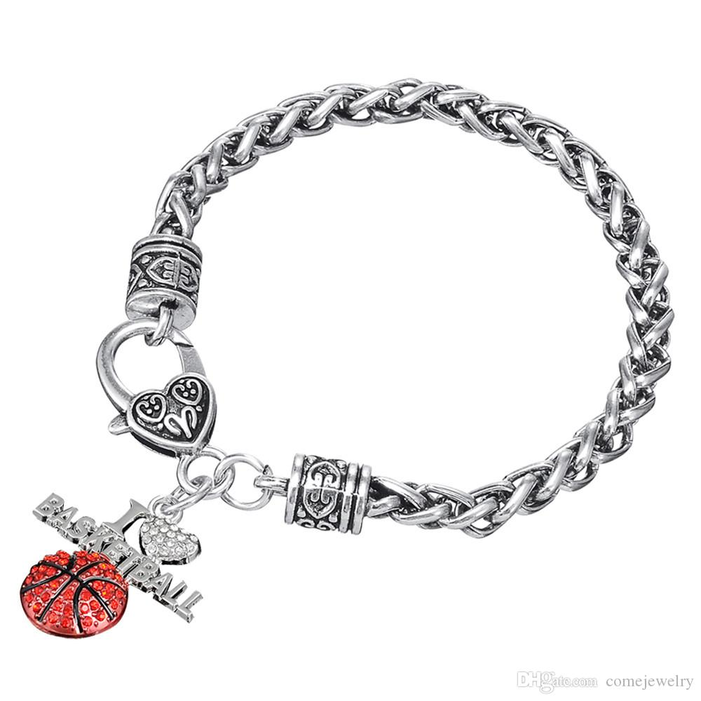 zinc alloy material antique silver color crystal embedded I Love Basketball charm Thick Wheat Chain bracelets with Lobster clow clasps
