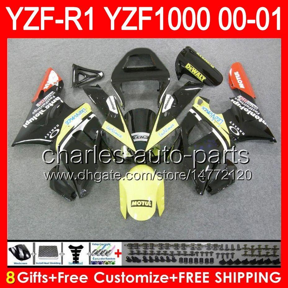gloss black 8gifts Body For YAMAHA YZF R1 00 01 YZF1000 YZF-R1 00-01 91NO34 YZF 1000 YZF-1000 YZF R 1 YZFR1 2000 2001 yellow black Fairing