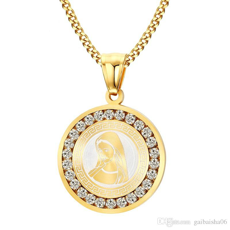 Wholesale Gold Plated Virgin Mary Necklace Women Religious Prayer