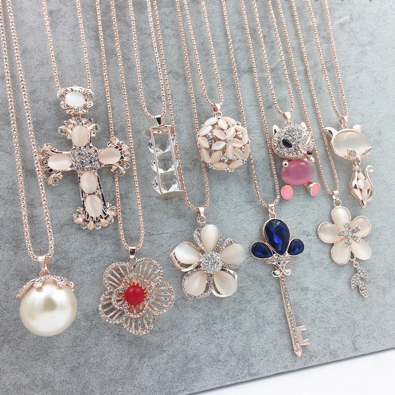 Heiße Pullover Kette Stein Halsketten Anhänger Neue Schmuck Rose Blume Kreuz Katze Eye Edelstein Owl Österreichische Kristallmode Anhänger Halskette
