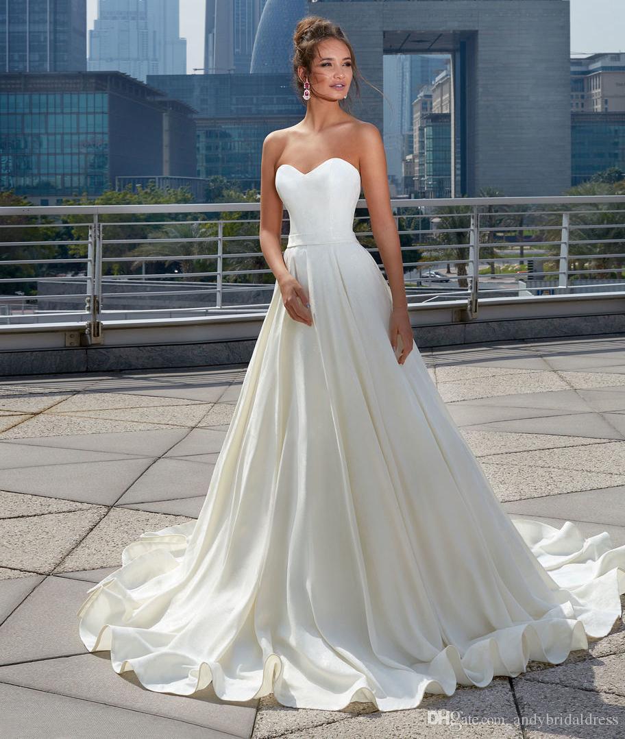 discount 2019 princess satin wedding dress simple design sweetheart bridal  dress wedding gown court train a line long wedding dress latest bridal