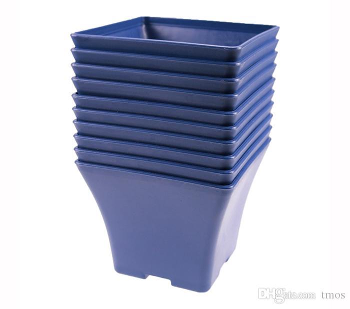 Wholesale MOQ Blue Charming Spain Basin Square Flower Pot Bonsai Nursery Planter Lithops Grow Pots for Home Garden Table Dercoration
