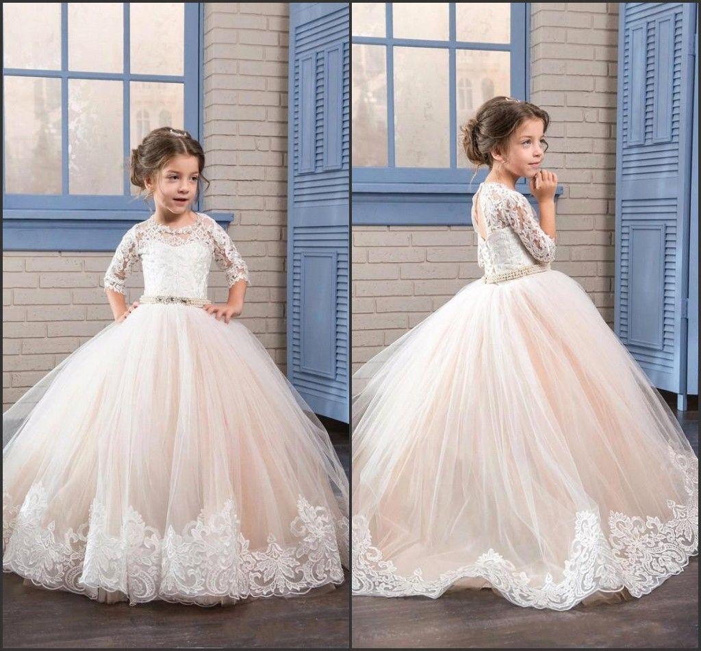 55de3e8b2e1 Beautiful Flower Girl Dresses for Wedding 2019 Half Long Sleeve with Beads  Princess Girl s Communion Dresses Lovely Kids Party Dress BA4501