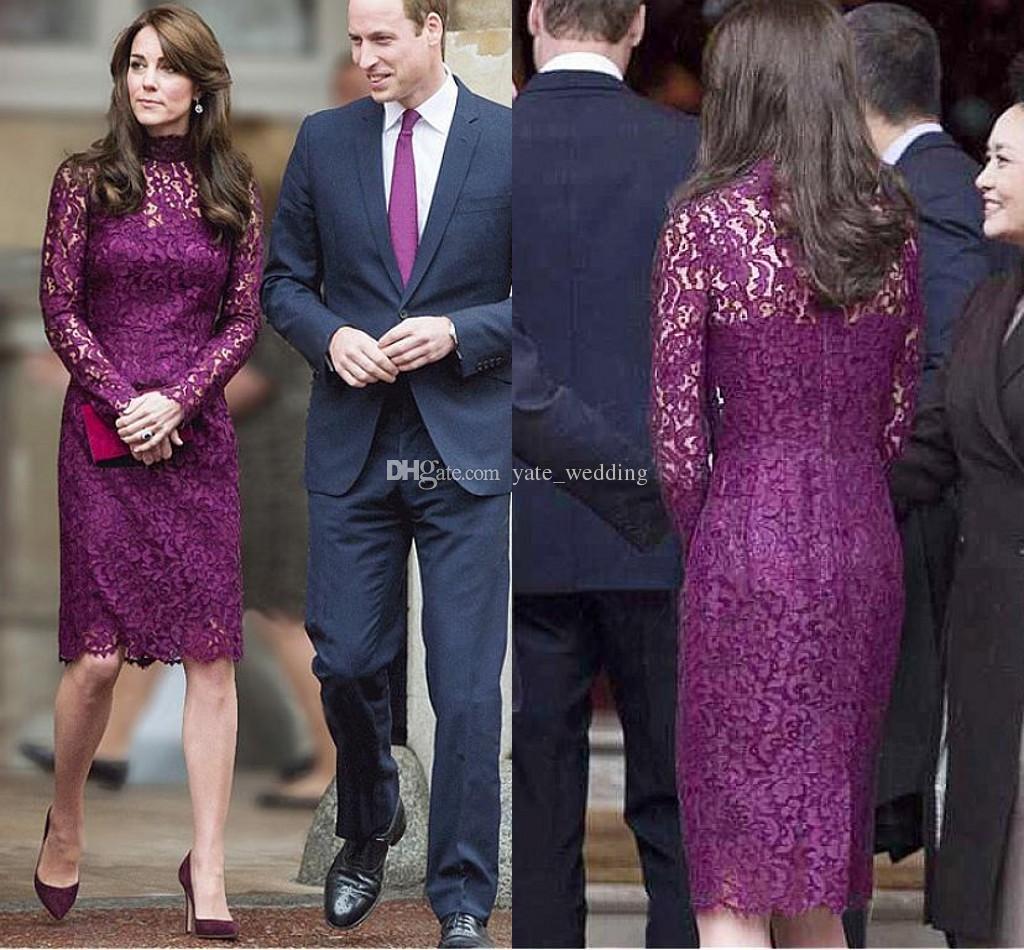 6e1d6c796ef Purple Lace Mother Of The Bride Dresses High Neck Long Sleeves Sheath Knee  Length Formal Women s Wear Elegant Celebrity Party Dresses