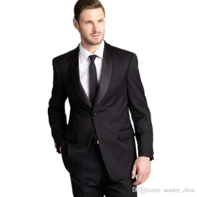 black men suit custom made bridegroom tuxedos suits handsome groom tuxedo slim fit one button prom suitsjacket+pants