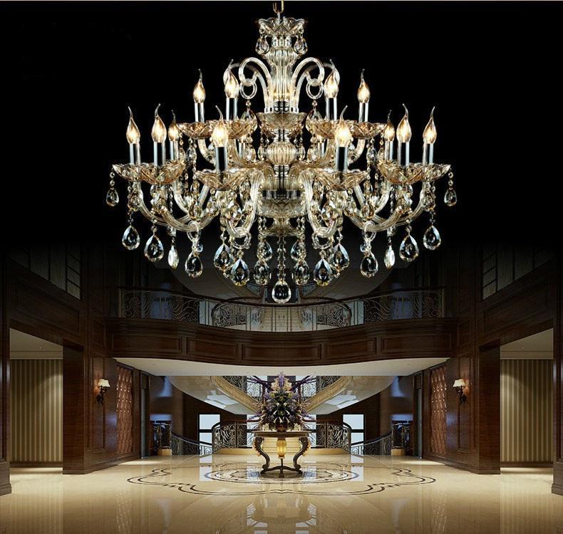 15 Silah kristal avize Işık Lüks Modern kristal lamba avize Aydınlatma champage Kristal Top K9