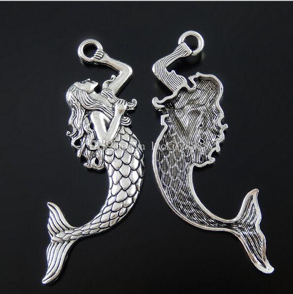 50 adet / grup Gümüş Kaplama Alaşım Mermaid Kolye Kolye Bilezik Takı Bulguları için Peri Melek Charms Hediye 76 * 21mm