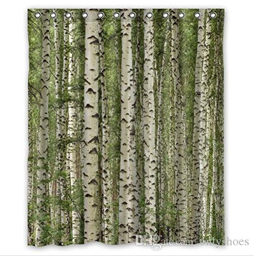 2018 Customs 36 48 60 66 72 80 W X H Inch Shower Curtain Birch Trees Mountain Autumn Landscape Polyester Fabric Bath From Onlyshoes
