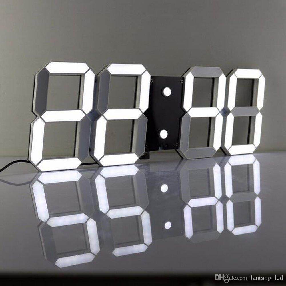 Large modern design digital led wall clock big creative - Horloge murale a led ...
