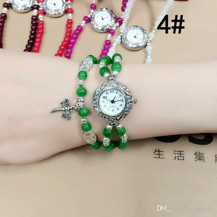 2017 Wholesale New girls retro watch glass beads bracelet watch jewelry watch multi color to choose CA025