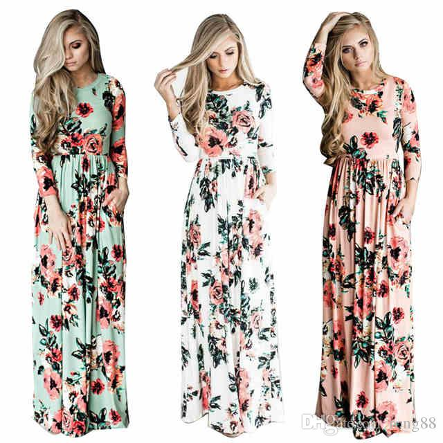 b376a142007 2017 Summer Boho Beach Dress Fashion Floral Printed Women Long Dress Three  Quarter Sleeve Loose Maxi Dress Vestidos Lace Outfits Junior Cocktail  Dresses ...