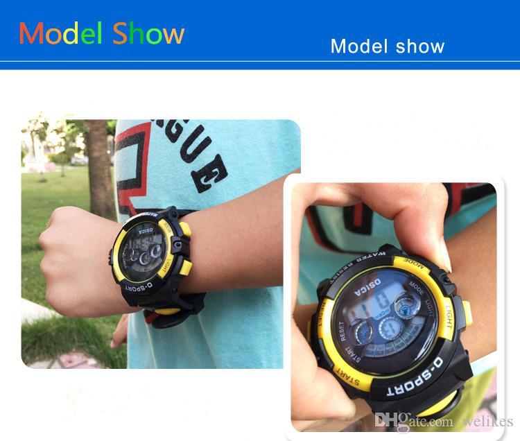 Çocuklar çocuk elektronik saatler Aydınlık çalar saat takvim zaman 5 Renkler mevcut su geçirmez spor saatler çocuk en iyi hediye