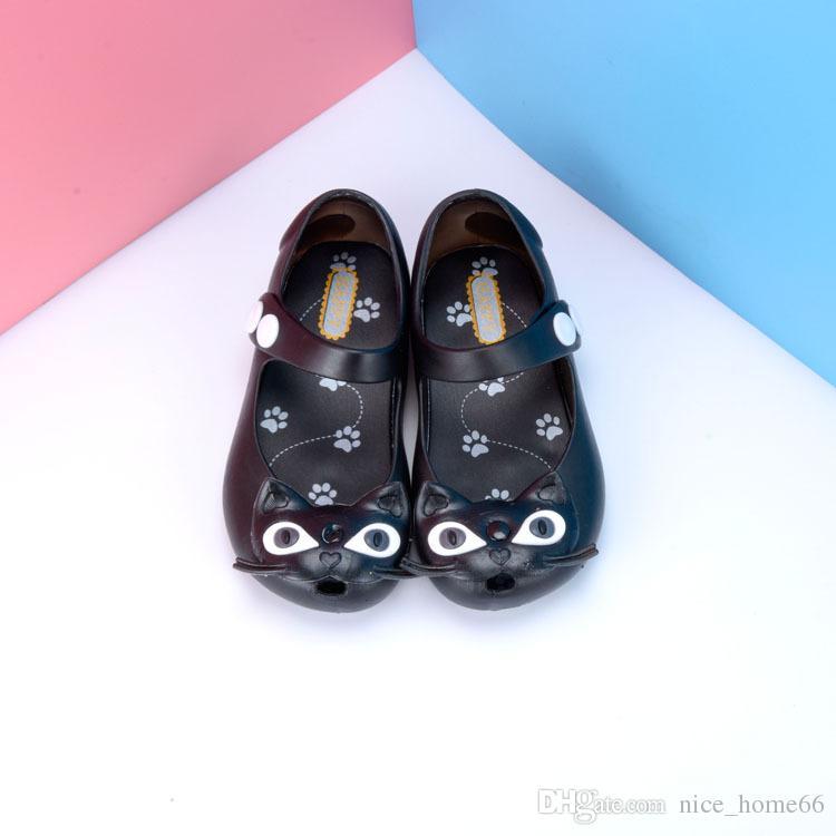 Mini zapatos de Melissa Summer Girls sandalias de gato Zuecos zapatos de bebé lindos Crystal sandalias de moda niños Baotou hebillas Kids Beach Shoes