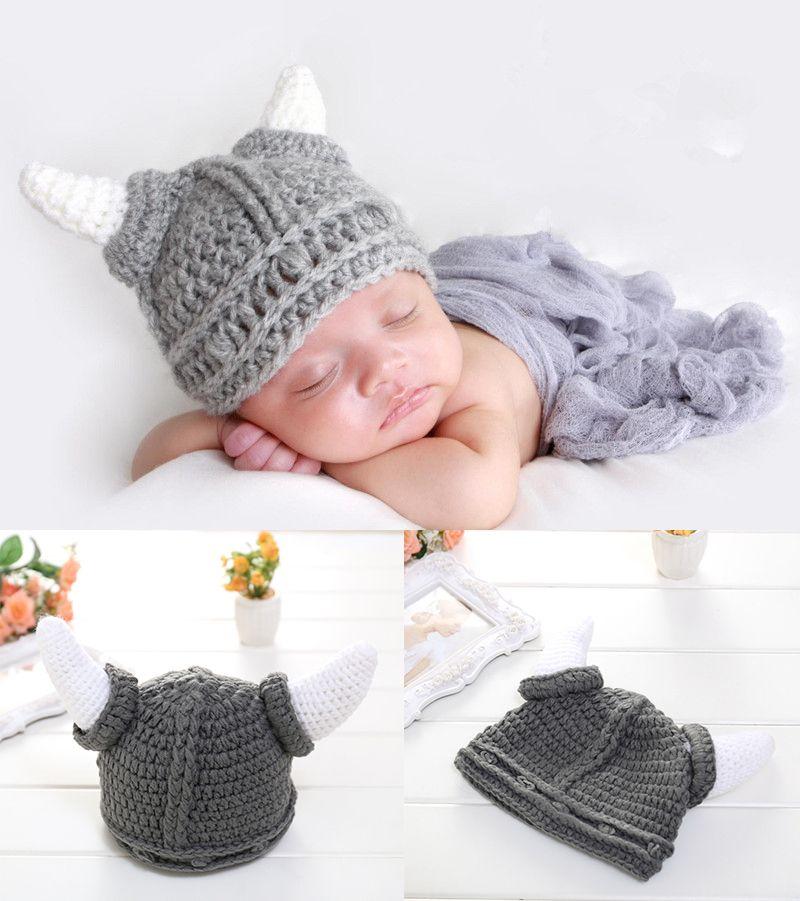 Crochet Baby Boy Ox Horn Cap Costume Knitted Newborn Baby Cartoon