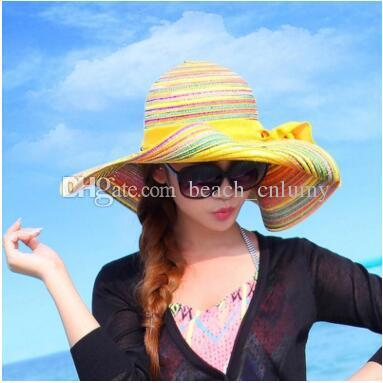 714e15934982f Fashion Wide Brim Summer Beach Sun Hats For Women Bohemian Bowknot Rainbow Straw  Hats Caps Ladies Girl Sunscreen Big Foldable Hat Holiday Straw Cowboy Hats  ...