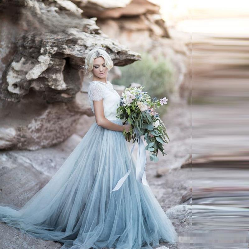 Modest Empoeirado Azul Tule Branco Rendas A Linha País Bach Vestidos De Casamento Com Manga Curta Ruched Longo Boho Vestidos De Noiva Custom Made Barato