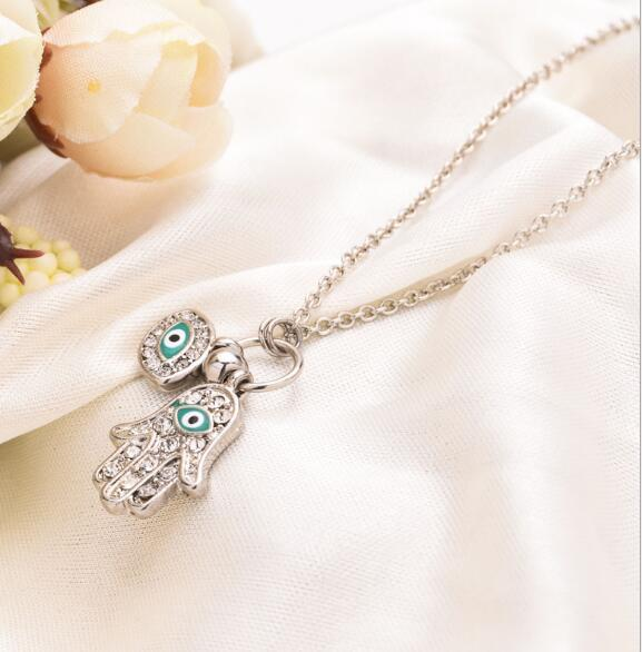 Fashion The Hand of Fatima Pendant Gold Silver Turkish Jewelry Hand Shape Turkey's Blue Eyes Necklace