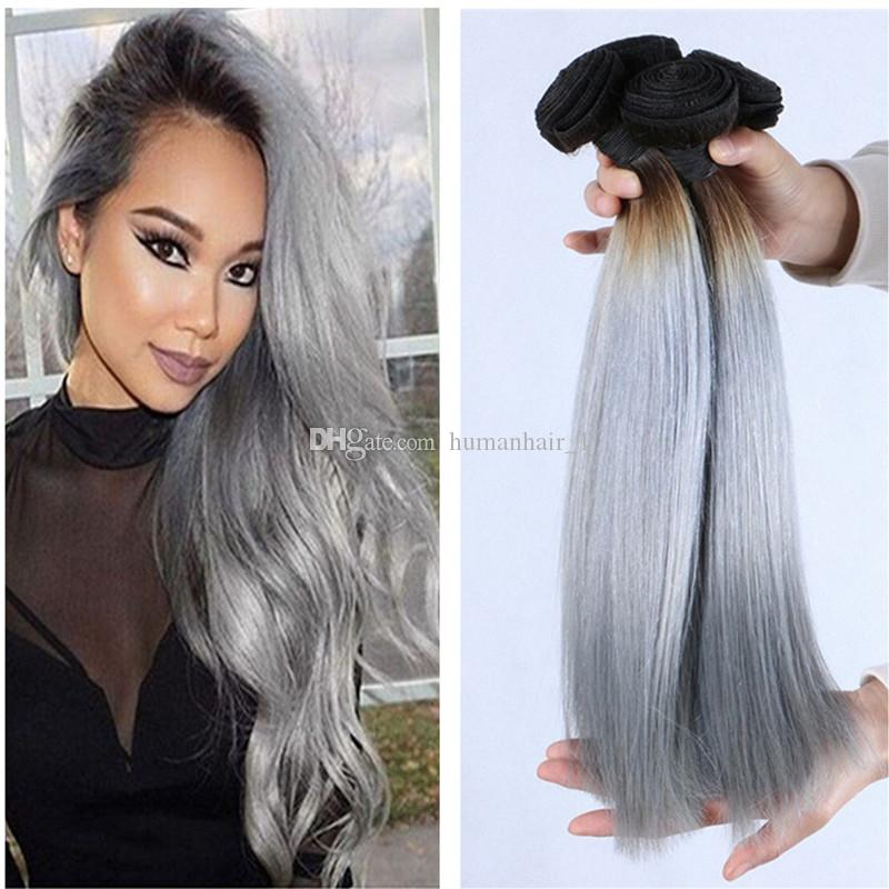 2019 Wholesale Ombre Hair Extensions Peruvian Hair Body Wave Wavy  1b Grey  Dark Roots Ombre Virgin Hair Double Wefts 3 Bundles From Humanhair 1 455130f807