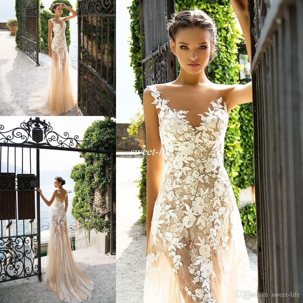 Bohemia 2017 milla nova sexy full lace sheath wedding dresses bohemia 2017 milla nova sexy full lace sheath wedding dresses sleeveless champagne summer beach garden bridal wedding gowns sheer back tulle chiffon wedding junglespirit Choice Image