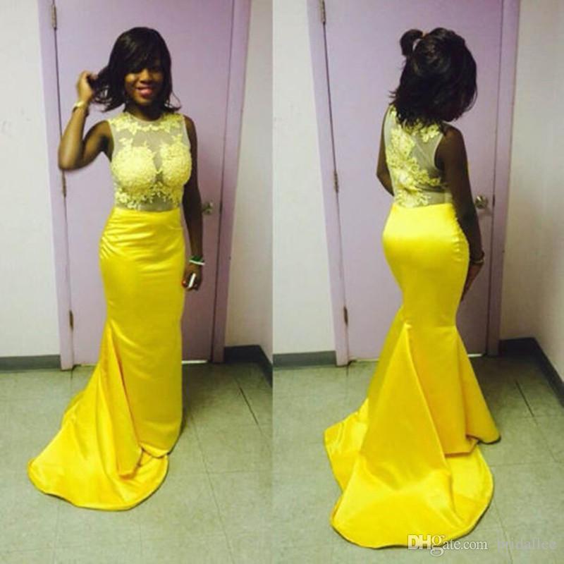 Black Grils Prom Dresses Appliques di pizzo Sirena di raso Giallo Evening Party Gowns Lungo Vestido de Festa
