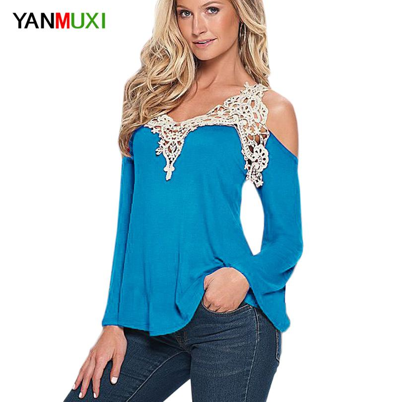 148b8d0ecd9 2019 Wholesale Women Blouse Shirt Top 2017 Solid Sexy Floral Lace Off  Shoulder Blue Shirt Streetwear Long Sleeve Loose Plus Size 5xl Casual Top  From Buxue