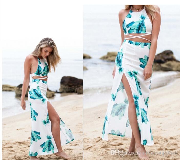 Cinta de espaguete sexy vestido sem encosto verão impressão v pescoço irregular verão auto-cultivo magro longa divisão Vestido