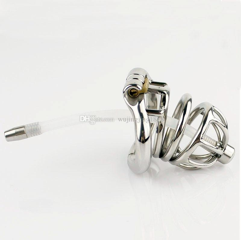 Latest Design Stainless Steel Small Male Chastity device Adult Cock Cage With Curve Cock Ring Urethral Catheter BDSM Sex Toys Chastity belt
