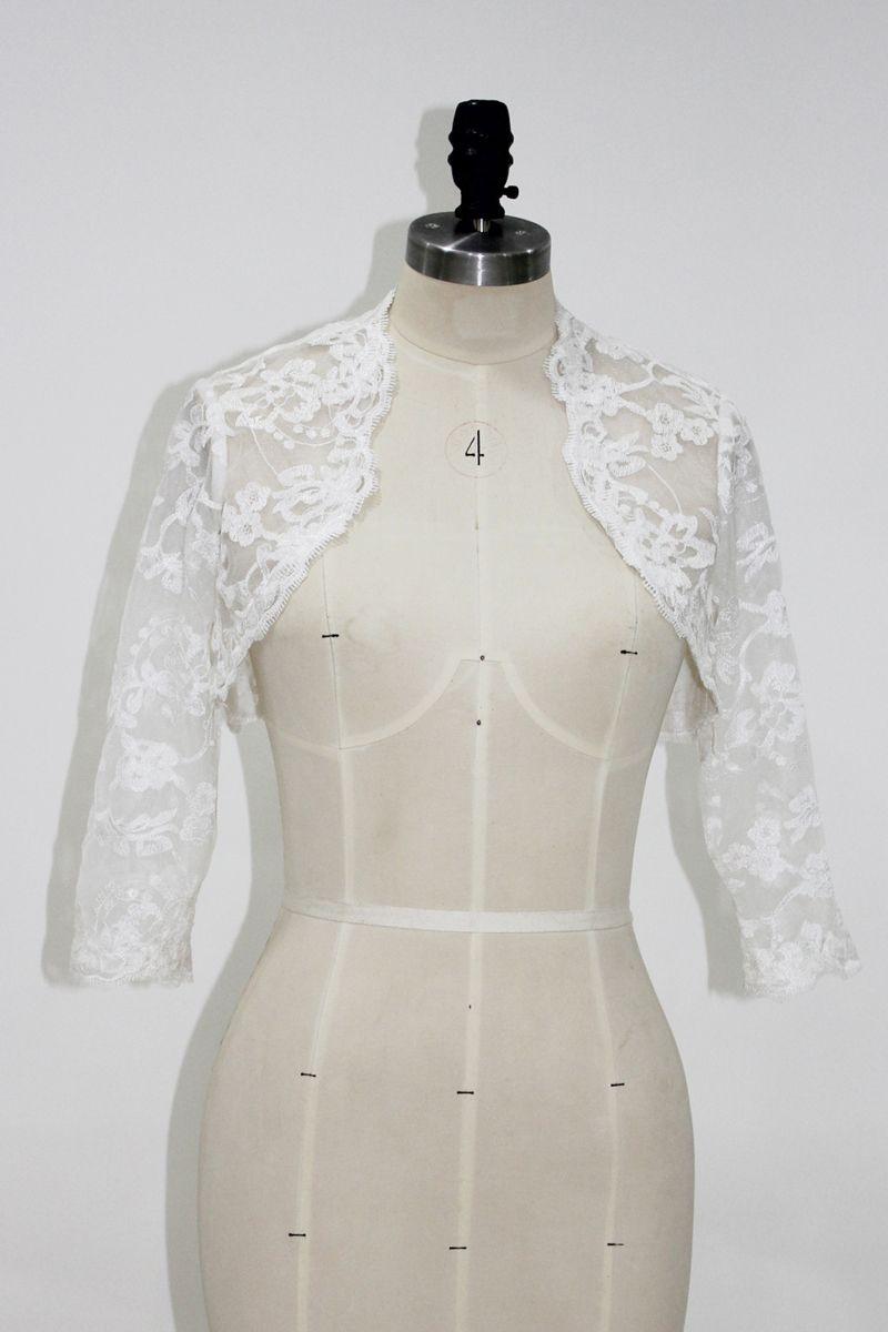 Jacket elegante 2020 Branco Ivory Lace Bolero de vestido de noiva 3/4 comprimento mangas Wedding nupcial Shrug nupcial Acessórios Custom Made