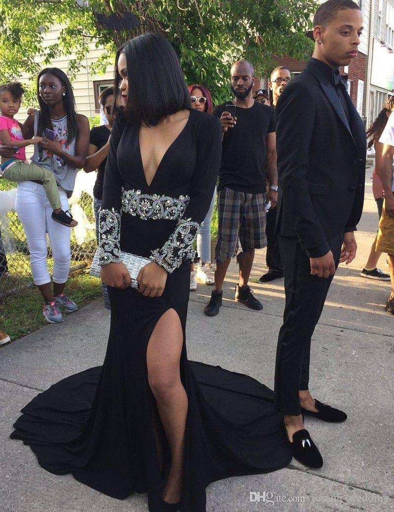 New High Slit Mermaid Unique Black Girls Evening Dresses 2017 Long Sleeve V Neck Satin Appliques Beaded High Leg Slits Formal Prom Gowns
