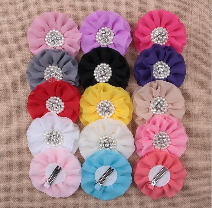Pearl Rhinestone Cluster Flower Chiffon Rosette Flowers s Hair Accessories Hair Barrettes clips free ship