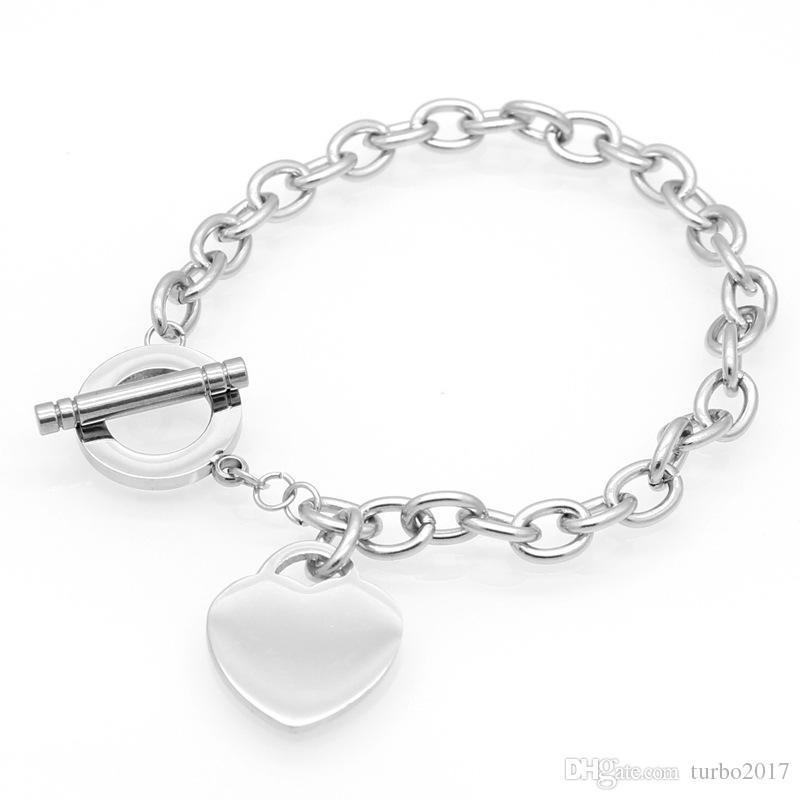 Heart Pendant Charm Bracelets Gold Silver Rose Gold Stainless Steel Chain Bracelets for Women Heart Bracelets