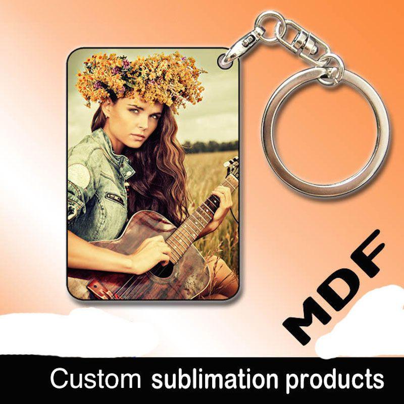 Süblimasyon boş MDF ahşap anahtarlık Termal transfer resim yazdırabilirsiniz Bireysellik mevcut özel tasarım anahtarlık toptan