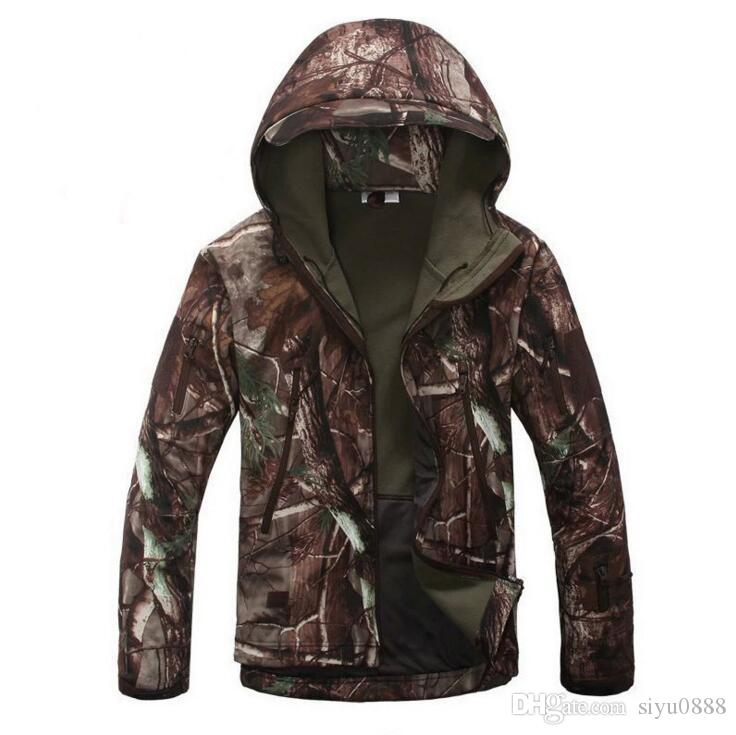 Men Army Waterproof Warm Camo Clothes Windbreaker Fleece Coat ...