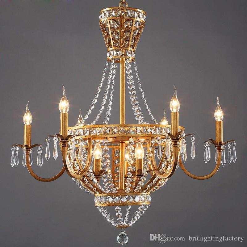 American Style Vintage Living Room Crystal Chandelier Light Dining Hotel Culb Chandeliers Rustic Country Restauant Pendant Lamps Glass
